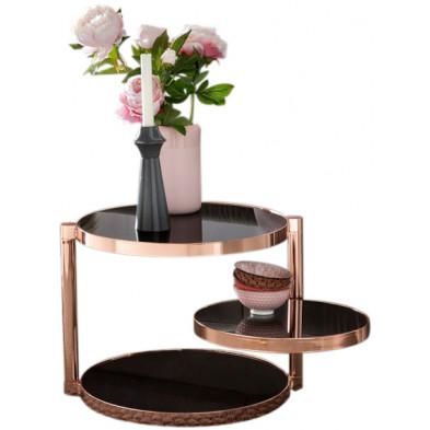 Table d'appoint noir design en acier L. 45 x P. 38,5 x H. 51,5 cm collection Mullheim