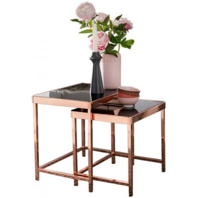 Table d'appoint noir design en acier L. 36 x P. 46 x H. 48 cm collection Mullheim