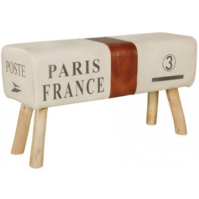 Repose-pied et pouf beige vintage en bois massif manguier L. 91,5 x P. 30 x H. 51 cm collection Estinnes