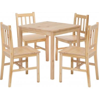 Ensembles tables & chaises beige contemporain en bois massif L. 70 x P. 73 x H. 73 cm collection Bulgarograbo