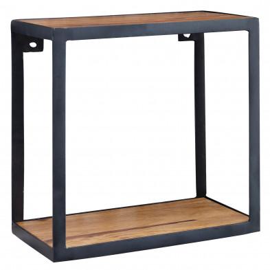 Meuble étagère marron rustique en acier L. 35 x P. 18 x H. 35 cm collection Kamil