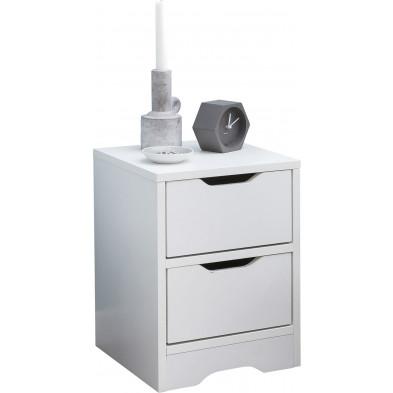 Chevet enfant blanc design en panneaux de particules mélaminés de haute qualité L. 31 x P. 31 x H. 42 cm collection Phatur