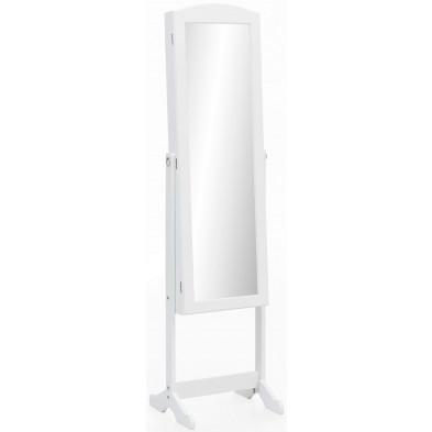Miroir blanc romantique en bois mdf L. 41 x P. 38 x H. 160 cm collection Stimulating