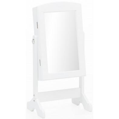 Miroir sur pied blanc romantique en bois mdf avec espace de rangement intérieur L. 33 x P. 27 x H. 73 cm collection C-Dijkhoff