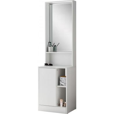 Vestiaires blanc design en miroir L. 50 x P. 39.5 x H. 180 cm collection Beazer