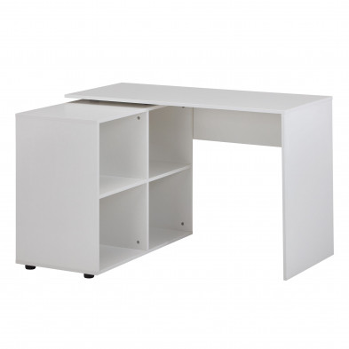 Bureau d'angle blanc design en bois mdf L. 117 x P. 88 x H. 75,5 cm collection Munday