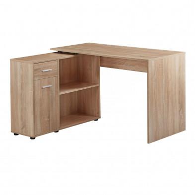 Bureau d'angle taupe design en bois mdf L. 120 x P. 106,5 x H. 75,5 cm collection Munday