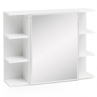 Miroir salle de bain blanc moderne en panneau de particules agglomérées et verre de haute qualité L. 80 x P. 20 x H. 64 cm collection Huanyue