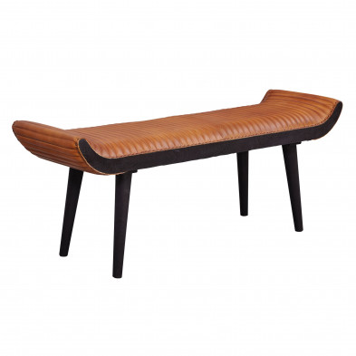 banquette de salle à manger marron moderne en  bois massif manguier et cuir véritable   L. 125 x P. 38 x H. 51 cm collection Meikashite