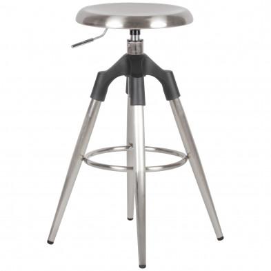 WOHNLING Barhocker Silber Metall 72-80 cm | Design Barstuhl 100 kg Maximalbelastbarkeit | Tresenhocker Industrial | Tresenstuhl ohne Lehne