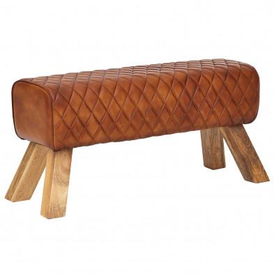banquette marron moderne en bois massif manguier et cuir véritable L. 89 x P. 35 x H. 46 cm  collection Radwa