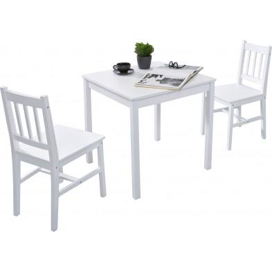 Ensembles tables & chaises blanc contemporain en bois massif pin L. 70 x P. 70 x H. 73 cm collection Seed