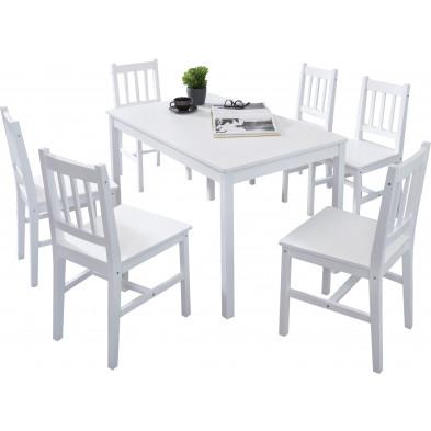 Ensembles tables & chaises blanc contemporain en bois massif pin L. 120 x P. 70 x H. 73 cm collection Seed