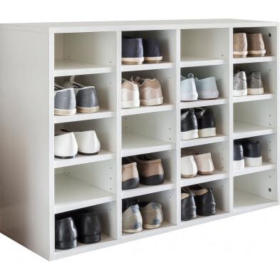 Meubles chaussures blanc moderne en panneaux de particules mélaminés de haute qualité L. 91.5 x P. 33 x H. 67 cm collection Bearriver