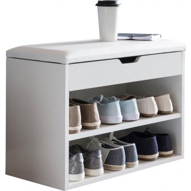 Meubles chaussures blanc moderne en panneaux de particules mélaminés de haute qualité L. 60 x P. 30 x H. 40 cm collection Brynrefail