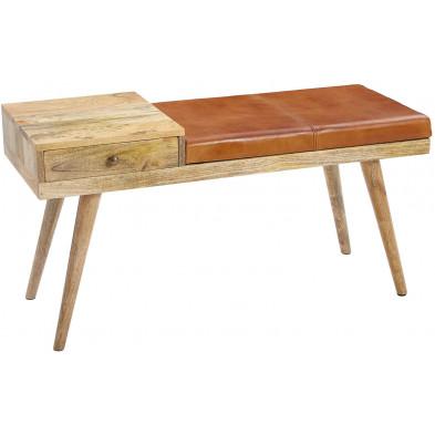Bancs & banquettes de salle à manger marron vintage en bois massif manguier L. 100 x P. 38 x H. 52 cm collection Sef