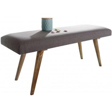Bancs & banquettes de salle à manger gris scandinave en bois massif manguier L. 117 x P. 38 x H. 51 cm collection Sef