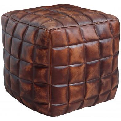 Repose-pied et pouf marron vintage en cuir véritable 47 cm de largeur L. 47 x P. 47 x H. 41 cm collection Boldon