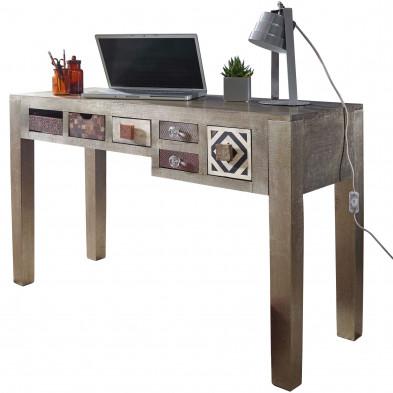 Bureau informatique gris vintage en bois massif manguier L. 120 x P. 48 x H. 77 cm collection Ylse