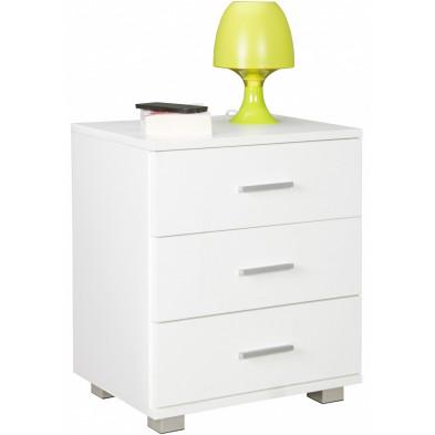 Chevet - table de nuit blanc design en panneaux de particules mélaminés de haute qualité L. 45 x P. 34 x H. 54 cm collection Gondregnies