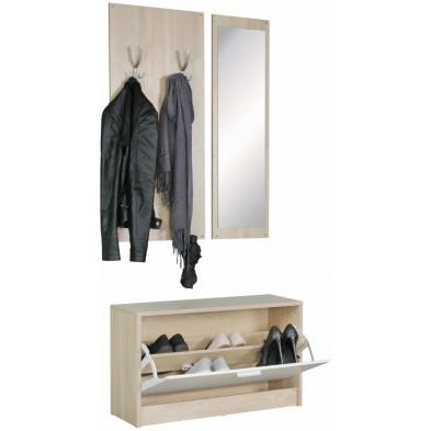 Meubles chaussures beige contemporain en panneaux de particules mélaminés de haute qualité L. 80 x P. 27 x H. 100 cm collection Valuable