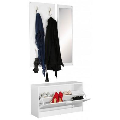 Meubles chaussures blanc design en panneaux de particules mélaminés de haute qualité L. 80 x P. 27 x H. 100 cm collection Valuable