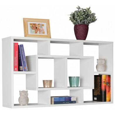 Commode et bibliothèque blanc design en panneaux de particules mélaminés de haute qualité L. 85 x P. 16 x H. 47,5 cm collection Barendse