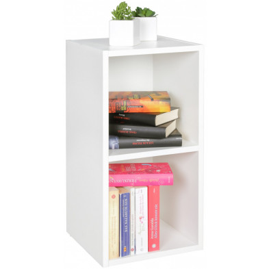 Commode et bibliothèque blanc design en panneaux de particules mélaminés de haute qualité L. 30 x P. 30 x H. 60 cm collection Croteau