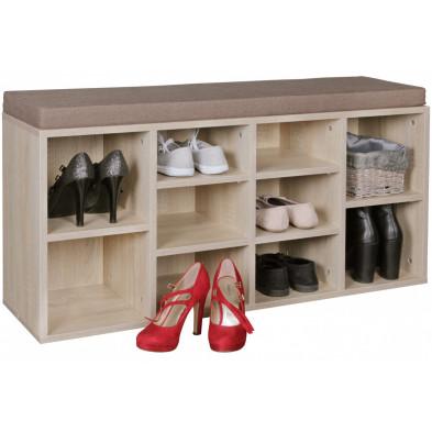 Meubles chaussures beige moderne en panneaux de particules mélaminés de haute qualité L. 103,5 x P. 30 x H. 53 cm collection Ponder