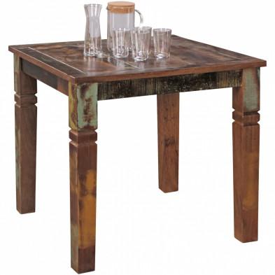 Table de salle à manger en bois massif marron rustique en bois massif manguier L. 80 x P. 80 x H. 76 cm collection Verify