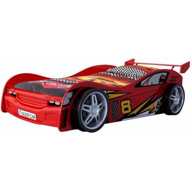 Lit voiture rouge design en bois mdf L. 231 x P. 111 x H. 68 cm collection Huon