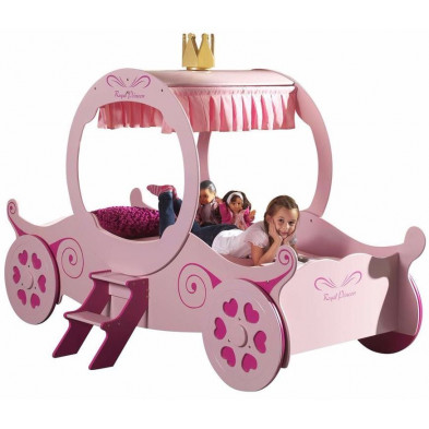 Lit voiture rose design en bois mdf L. 240 x P. 168 x H. 167 cm collection Huon