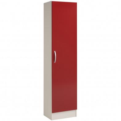 Meuble de rangement moderne rouge en panneaux de particules mélaminés de haute qualité  L. 50 x P. 36 x H. 209 cm Collection Mirela