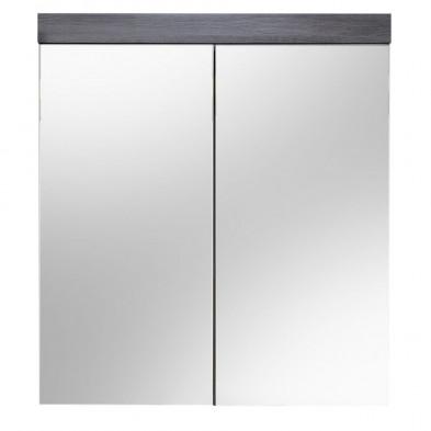 Armoire murale pour salle de bain avec porte-miroir coloris gris anthracite L. 72 x P. 17 x H. 79 cm collection Aberfan