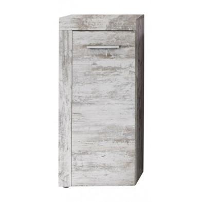 Armoire de rangement pour salle de bain 1 porte coloris pin canyon blanc L. 36 x P. 31 x H. 81 cm collection Rohrdorf