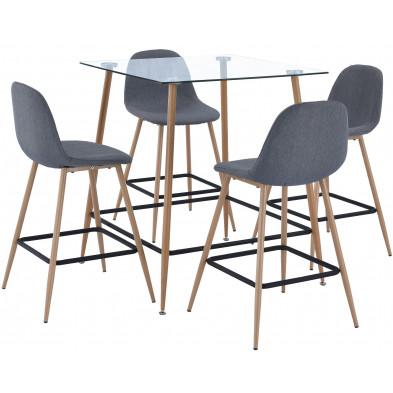 Ensemble table et chaises beige scandinave en bois massif hêtre  L. 80-50 x P. 80-42 x H. 90-109 cm collection Ouwerkerk