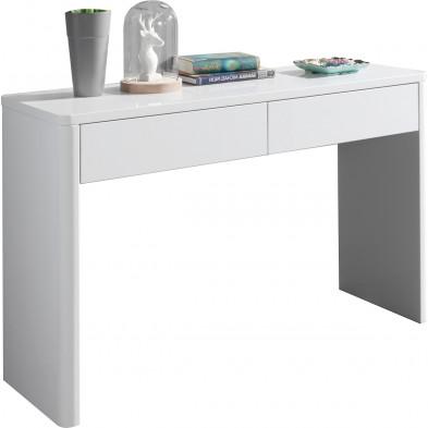 Bureau blanc design en bois mdf 120 cm  L. 120 x P. 40 x H. 75 cm collection Shun