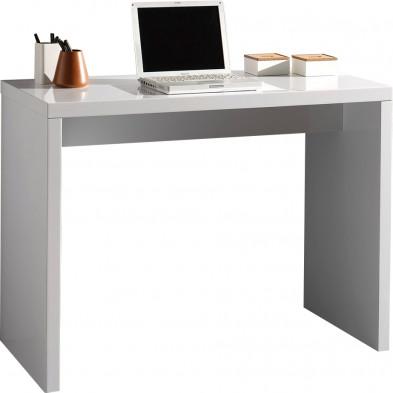 Bureau informatique blanc design en bois mdf L. 100 x P. 50 x H. 75 cm collection Dillan