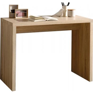 Bureau marron contemporain en bois mdf L. 100 x P. 50 x H. 75 cm collection Dillan