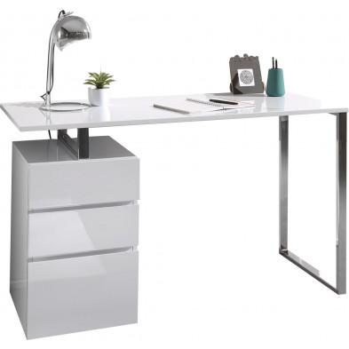 Bureau  blanc design en bois mdf  L. 130 x P. 55 x H. 75 cm collection Wobbes