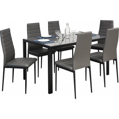 Ensemble table et chaises gris design en acier collection Gideon