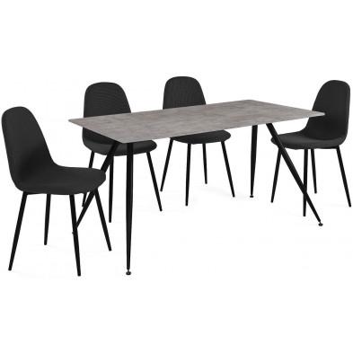 Ensembles table & chaises gris design en acier  L. 140-42 x P. 80-51 x H. 75-88 cm collection Forston