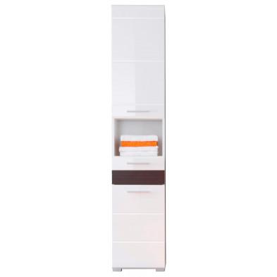 Colonne de rangement pour salle de bain design coloris blanc et chêne Melinga gris L. 37 x P. 31 x H. 182 cm collection Martham