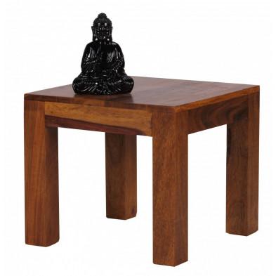Table d'appoint marron contemporain en bois massif L. 45 x P. 45 x H. 40 cm collection Fluttering