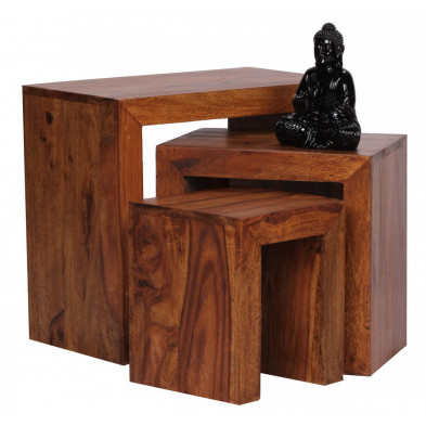 Lot de 3 Table d'appoint marron contemporain en bois massif L. 45 x P. 30 x H. 50 cm collection Fluttering