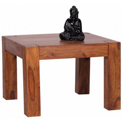 Table basse carrée contemporaine L. 60 x P. 60 x H. 40 cm en bois massif sheesham collection C-Hasu