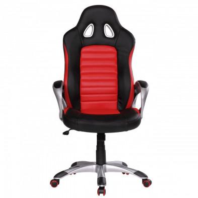 Chaise et fauteuil de bureau rouge design en pvc L. 56 x P. 62 x H. 122 - 130 cm collection Vansplunter