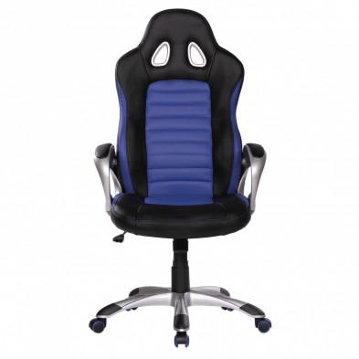 Chaise et fauteuil de bureau bleu design en pvc L. 56 x P. 62 x H. 122 - 130 cm collection Vansplunter