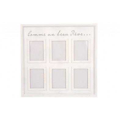 Cadre photos blanc en bois massif collection Lindsay