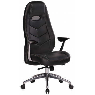 Chaise et fauteuil de bureau noir design en cuir véritable L. 60 x P. 62 x H. 122 - 131 cm collection Fresh
